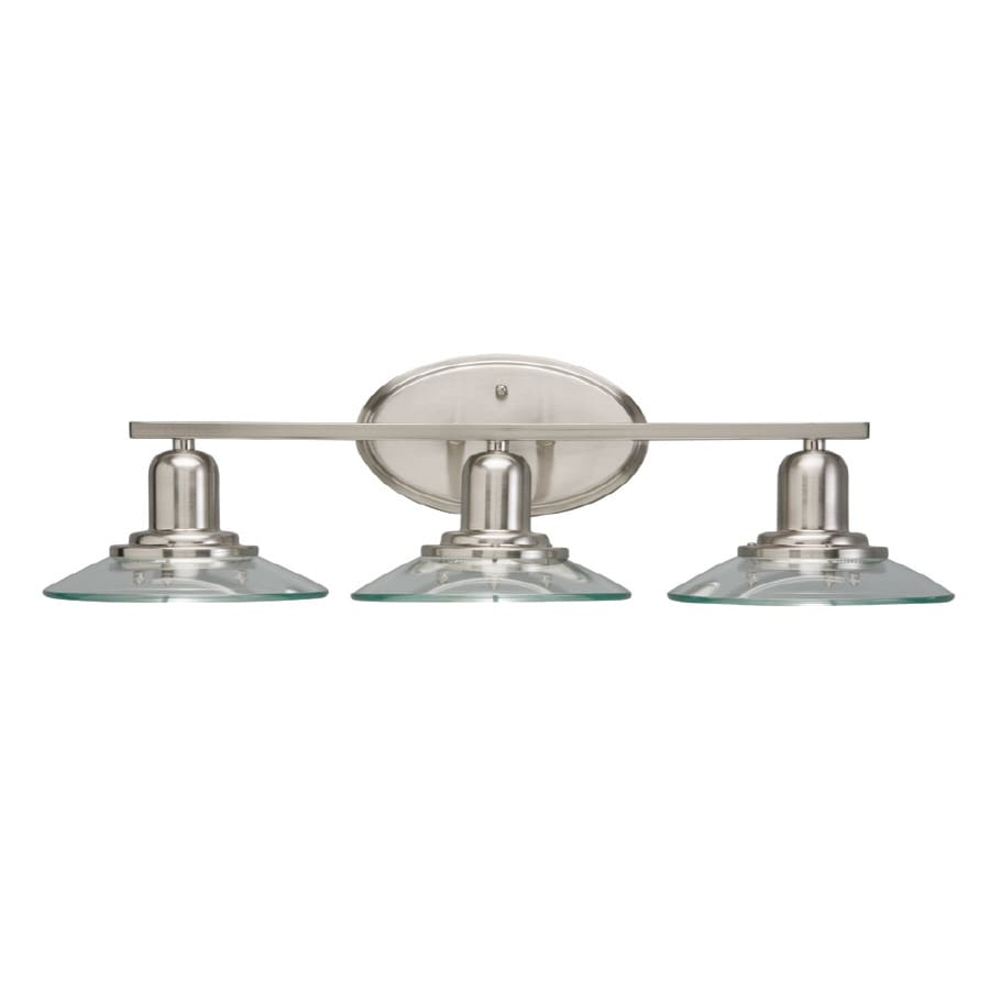 Bathroom Vanity Lights Pictures shop allen + roth galileo 3-light 7.3-in brushed nickel cone