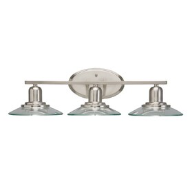 Bath Vanity Lights: allen + roth Galileo 3-Light Brushed Nickel Cone Vanity Light Bar,Lighting