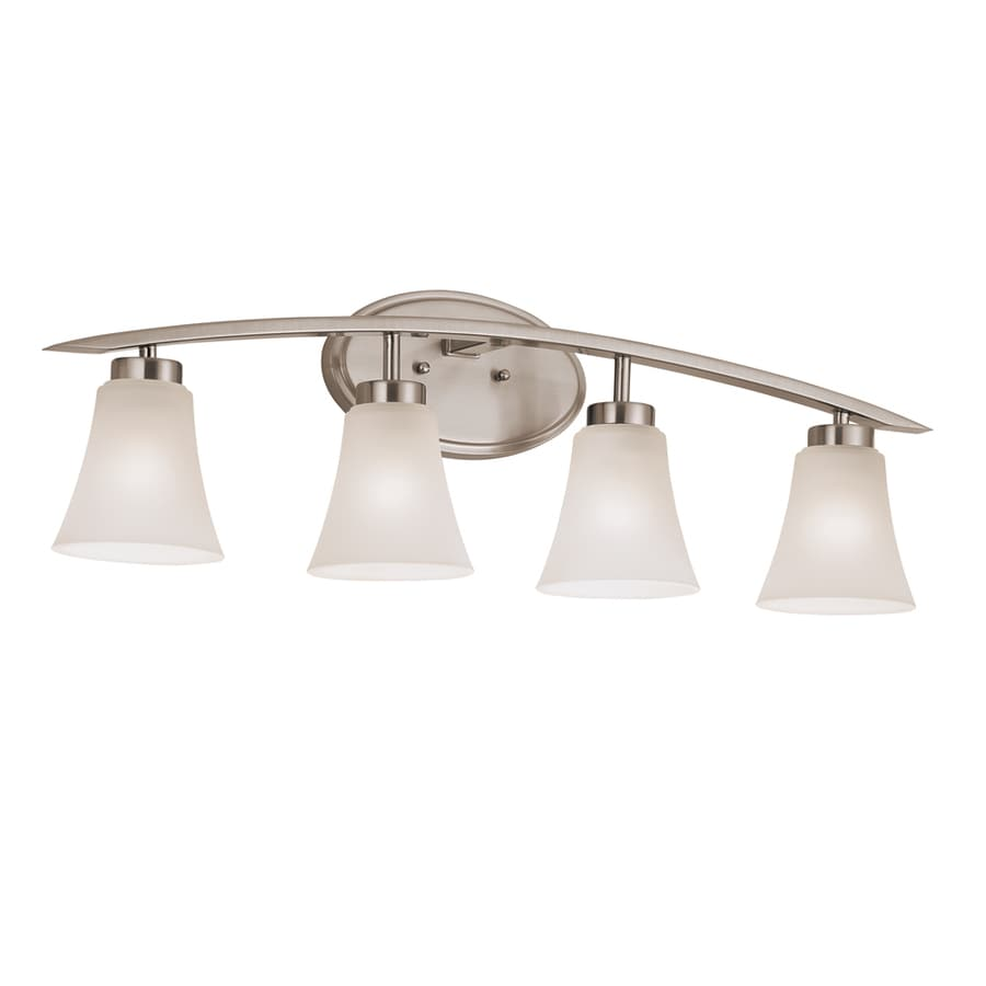 Shop portfolio lyndsay 4 light satin nickel bell for Bathroom vanity fixtures