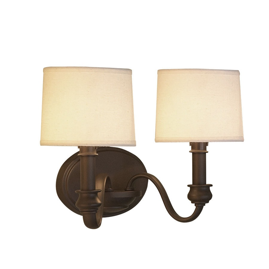 allen + roth 13.75-in W 2-Light Olde Bronze Arm Hardwired Wall Sconce