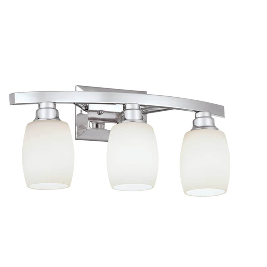 Shop allen roth 3 light chrome vanity light bar at for Bathroom vanity fixtures