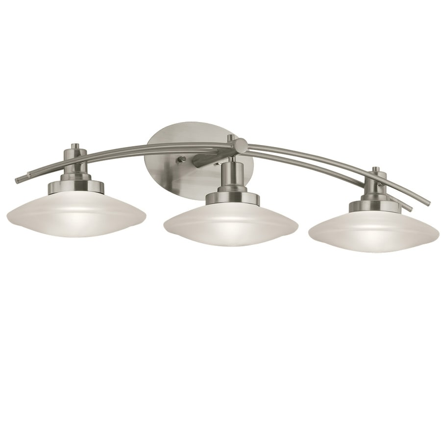 bathroom lighting fixtures brushed nickel shop portfolio 3 light brushed nickel bathroom vanity 22183