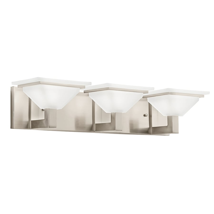 Vanity Lights Not Hardwired : Shop Kichler Evanson 3-Light 5.04-in Brushed Nickel Square Vanity Light at Lowes.com