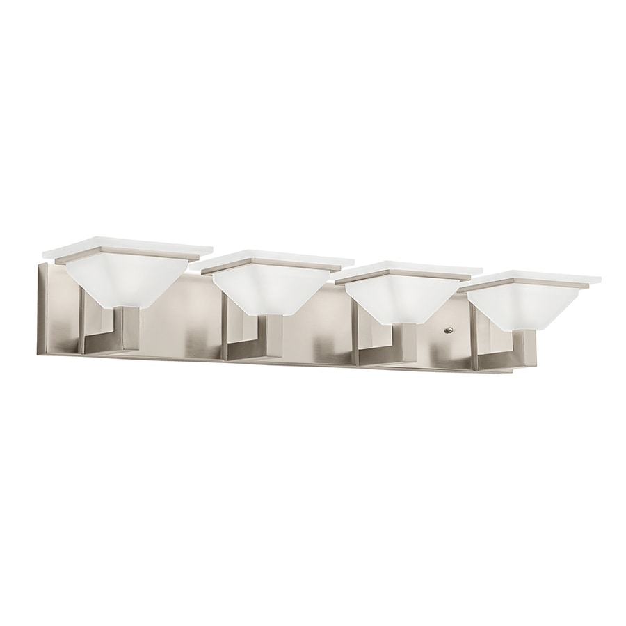 Bathroom Light Fixtures In Brushed Nickel shop kichler evanson 4-light 5.04-in brushed nickel square vanity