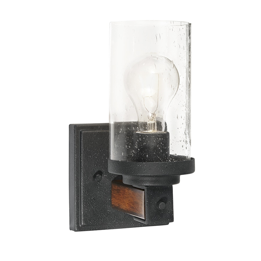 Kichler Lighting Barrington 4.49-in W 1-Light Distressed Black and Wood Arm Hardwired Wall Sconce