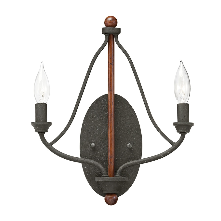 Kichler Lighting Carlotta 9.25-in W 2-Light Distressed Black and Wood Vintage Candle Wall Sconce