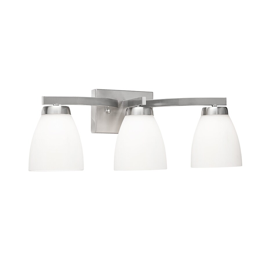 shop kichler 3 light satin nickel cone led vanity light at. Black Bedroom Furniture Sets. Home Design Ideas