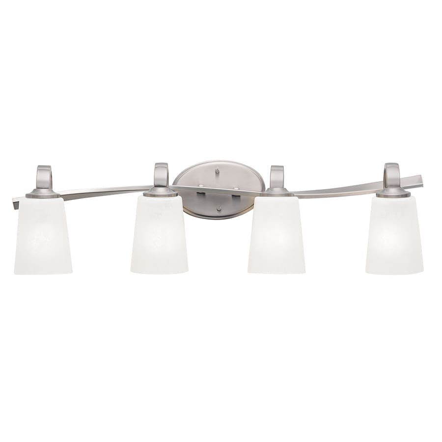 kichler bathroom light fixtures shop kichler 4 light 30 in brushed nickel cylinder vanity 18958