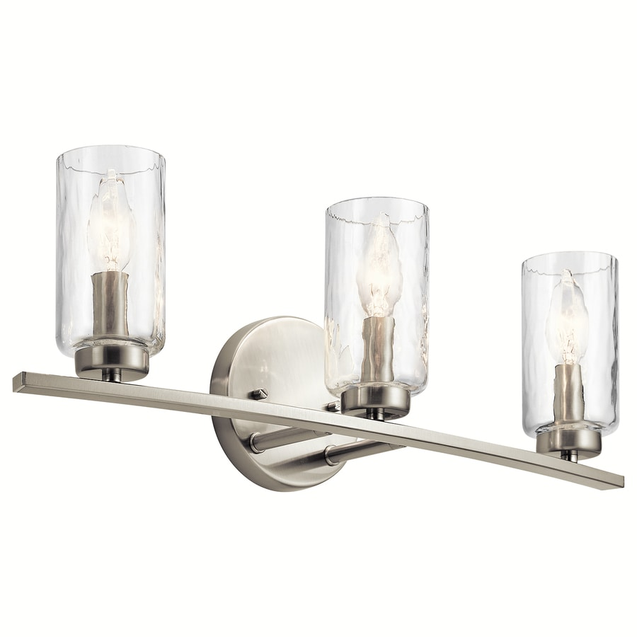 Shop kichler marita 3 light 22 in brushed nickel cylinder for Brushed nickel bathroom lighting fixtures