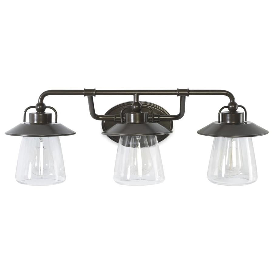 Vanity Light Bulbs Specialty : Shop allen + roth Bristow 3-Light 8.57-in Specialty Bronze Cone Vanity Light at Lowes.com