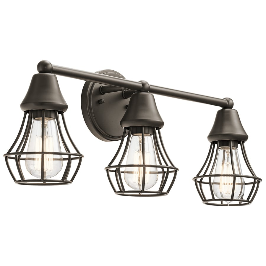 Shop vanity lights at lowes kichler bayley 3 light 2301 in olde bronze cage vanity light aloadofball Gallery
