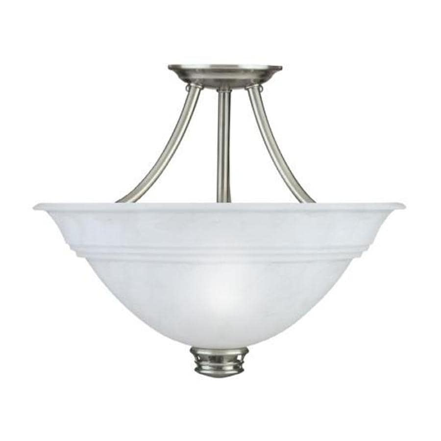 Portfolio 15.38-in W Newport Antique Pewter Frosted Glass Semi-Flush Mount Ceiling Light