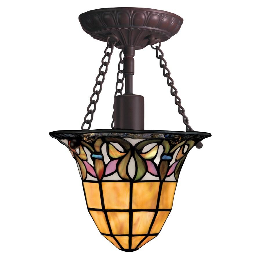 Portfolio Flora 8 In W Art Nouveau Bronze Clear Glass Semi Flush Mount Light