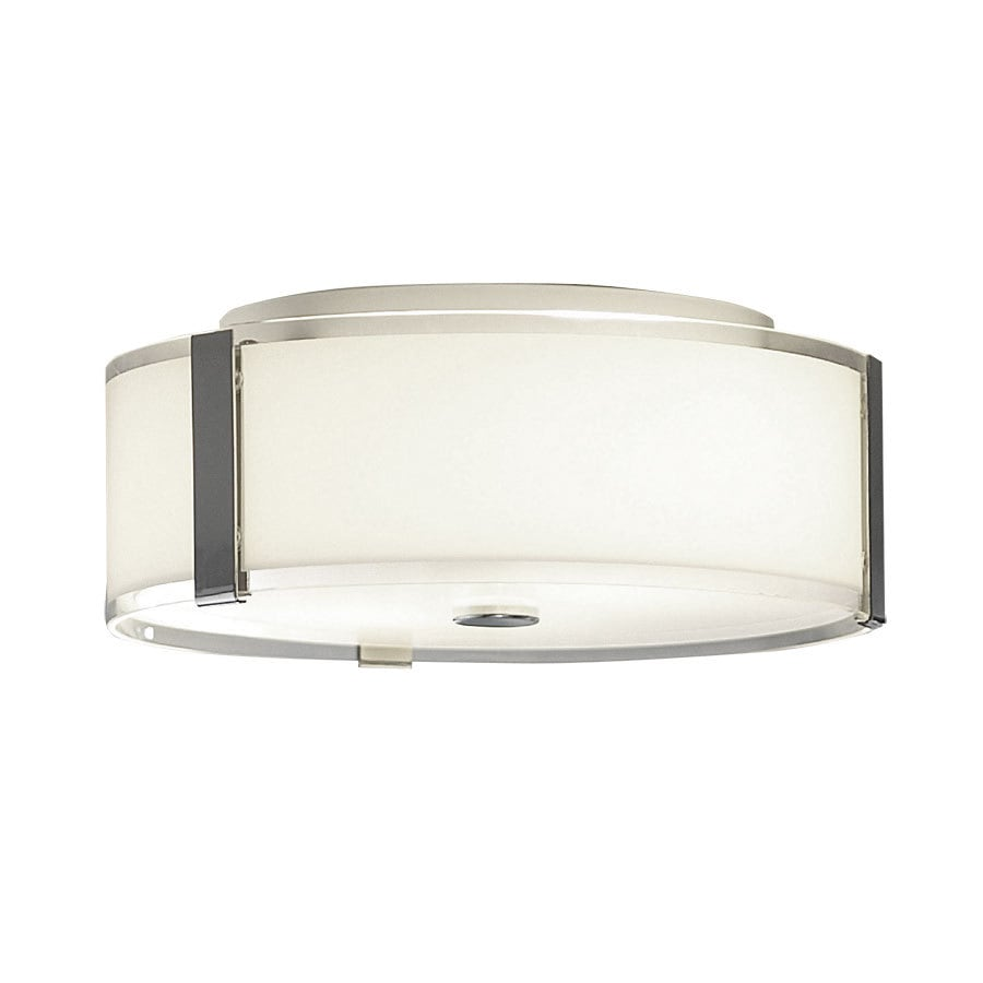 allen + roth 13.87-in W Chrome Standard Flush Mount Light