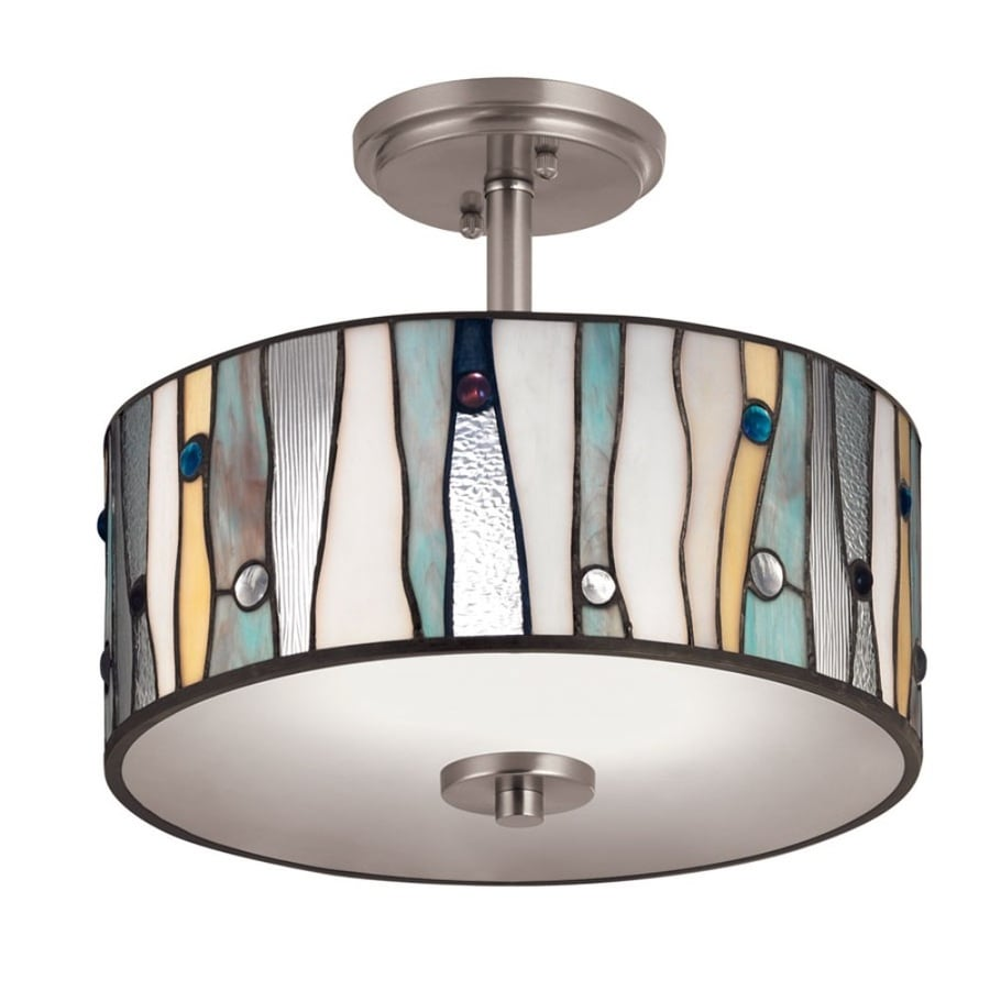 Shop Flush Mount Lighting at Lowes.com:Portfolio 13-in W Brushed Nickel Clear Glass Tiffany-Style Semi-Flush Mount,Lighting