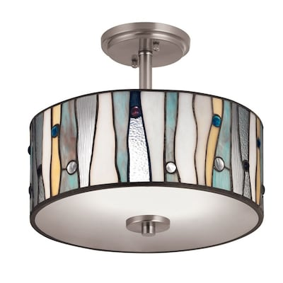13 In W Brushed Nickel Stained Semi Flush Mount Light