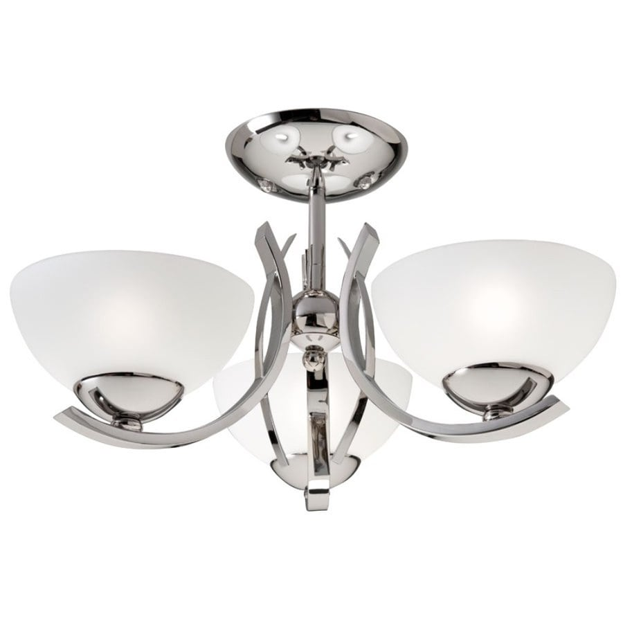 Westwood Collection 16-in W Polished Nickel Frosted Glass Semi-Flush Mount Light