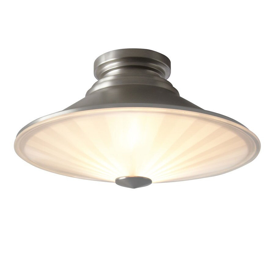Style Selections 15-in W Brushed Nickel Ceiling Flush Mount Light