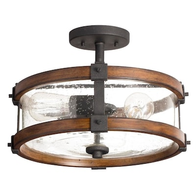 Barrington 14 In W Distressed Black And Wood Tone Seeded Semi Flush Mount Light