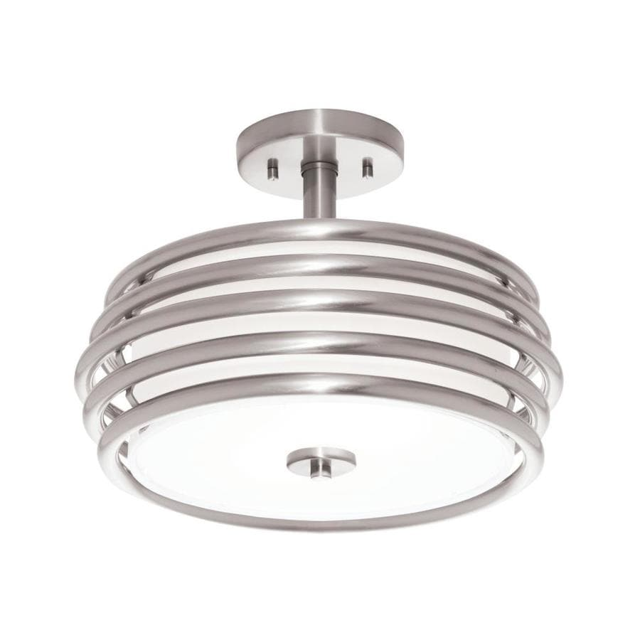 kichler bands 1402in w brushed nickel fabric semiflush mount light - Semi Flush Mount Lighting