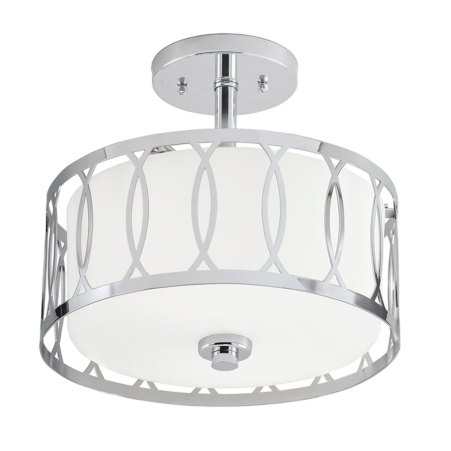 Kichler 12.24-in W Chrome Frosted Glass Semi-Flush Mount Light