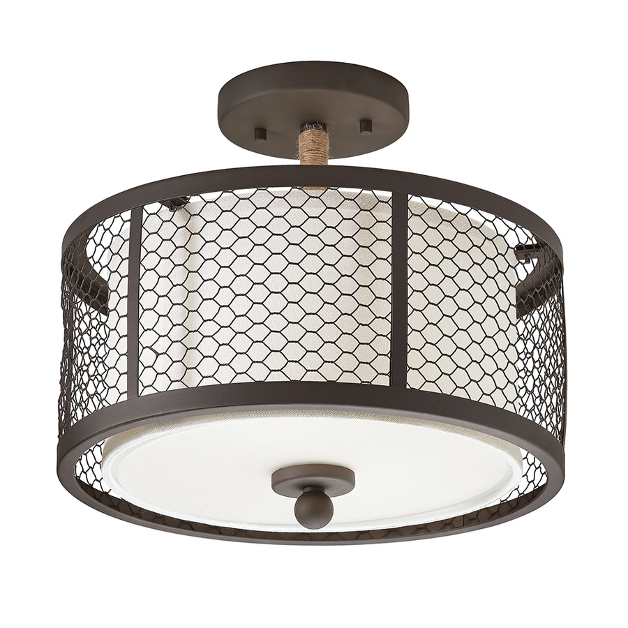 Kichler Lighting 12.99-in W Olde Bronze Fabric Semi-Flush Mount Light