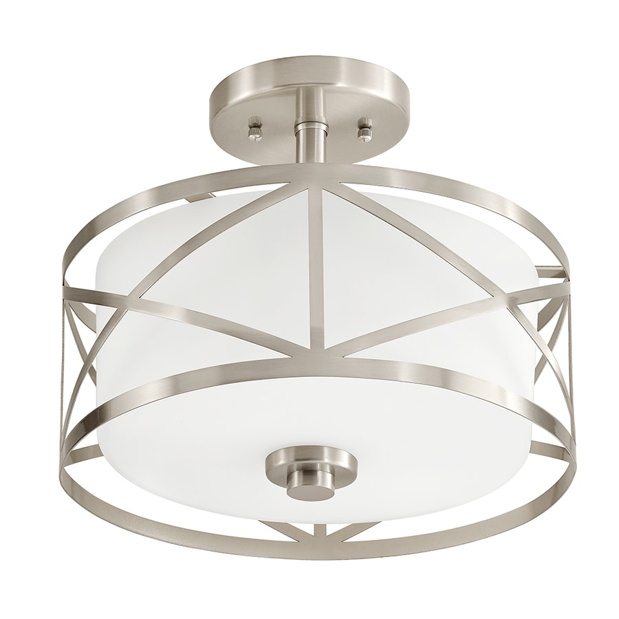 Kichler Edenbrook 11.38-in W Brushed Nickel Frosted Glass Semi-Flush Mount Light