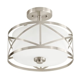Kichler Edenbrook 11 38 In W Brushed Nickel Etched Gl Semi Flush Mount Light
