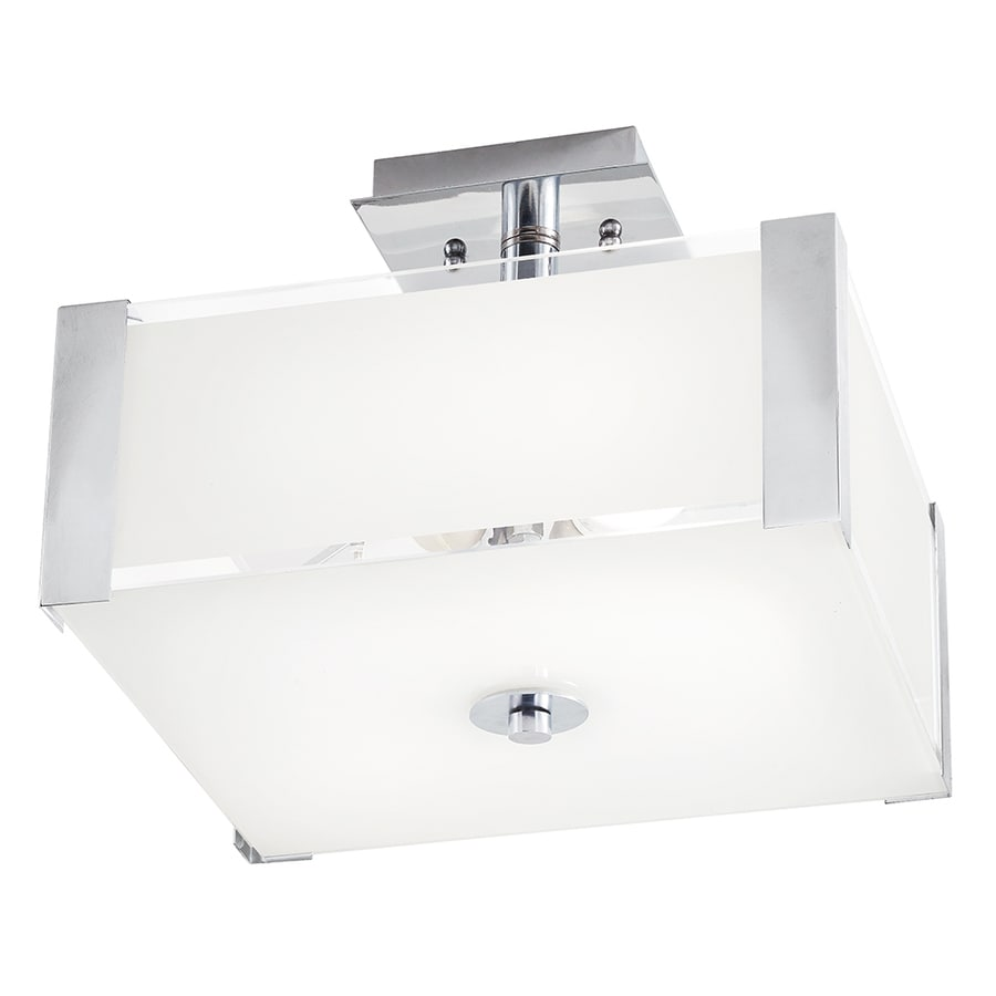 Kichler Lighting 12.52-in W Chrome Frosted Glass Semi-Flush Mount Light