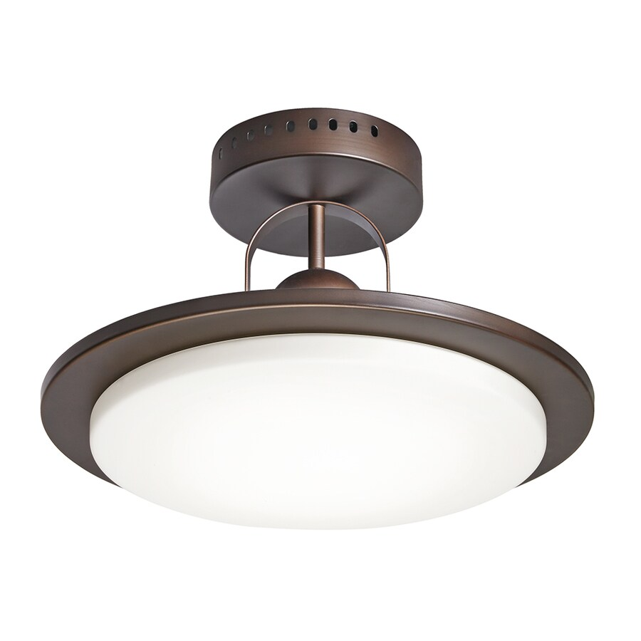 Kichler 14.57-in W Oil Rubbed Bronze Etched Glass LED Semi-Flush Mount Light