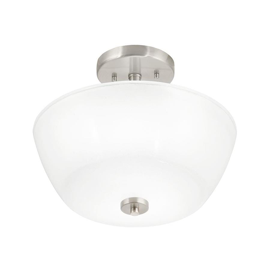 Kichler Layla 12.99-in W Brushed Nickel Frosted Glass Semi-Flush Mount Light
