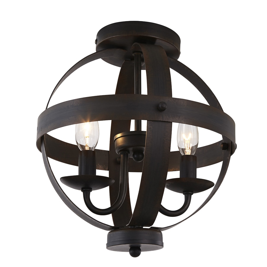 shop allen + roth crossburg 10-in w oil-rubbed bronze metal semi