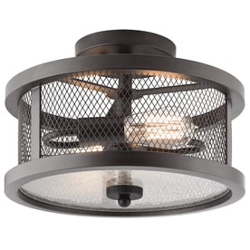 Kichler Saybridge 13 In W Bronze Metal Semi Flush Mount Light