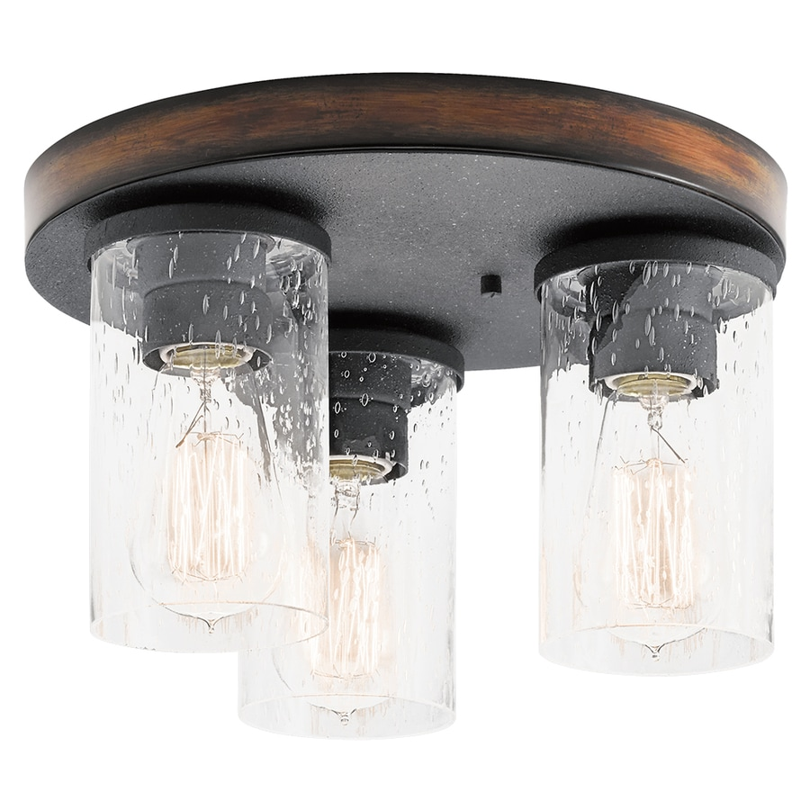 Kichler Barrington 11 5 In W Distressed Black And Wood Flush Mount Light