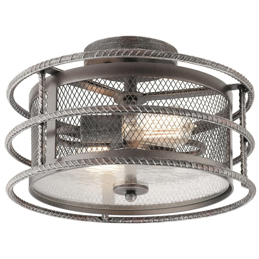 Kichler Ramida 14.25-in W Antique steel Metal Semi-Flush Mount Light