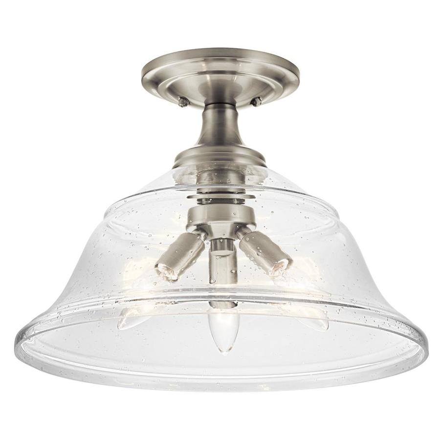 Kichler 15-in W Brushed Nickel Clear Glass Semi-Flush Mount Light