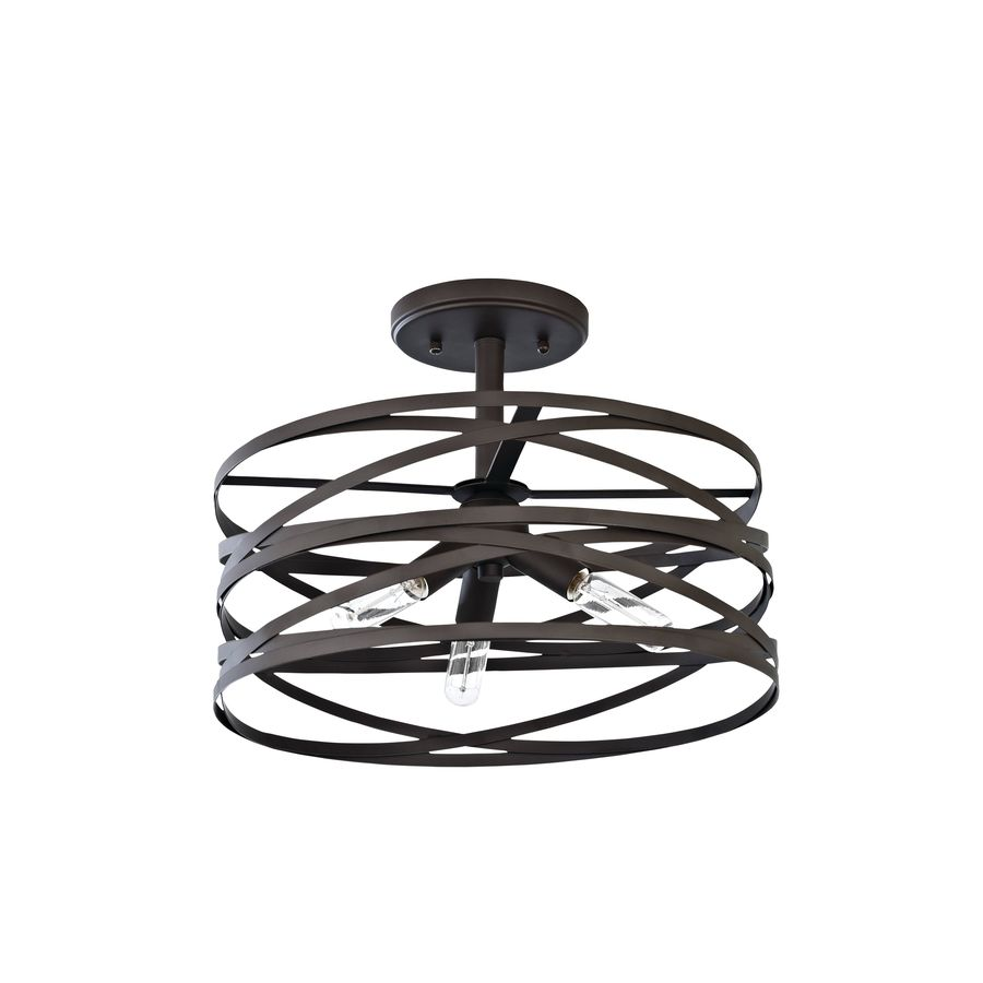 Shop semi flush mount lights at lowes allen roth winship 14 in w bronze metal semi flush mount light arubaitofo Images