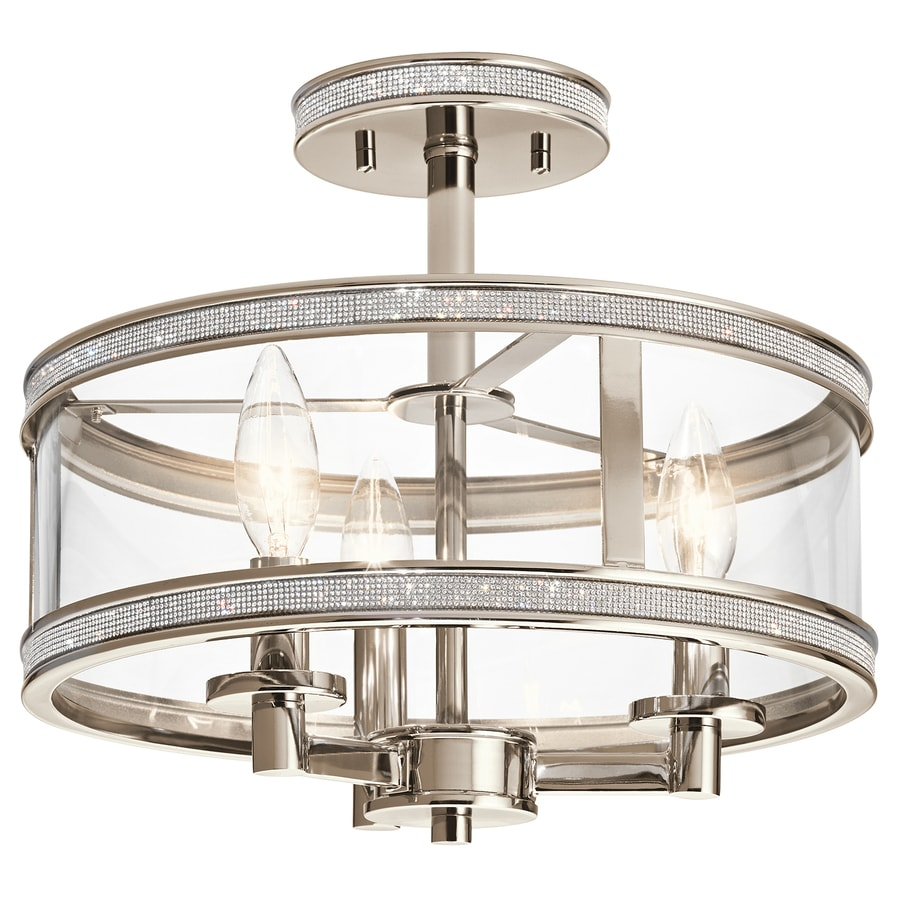 Kichler Angelica 13 In W Polished Nickel Clear Gl Semi Flush Mount Light