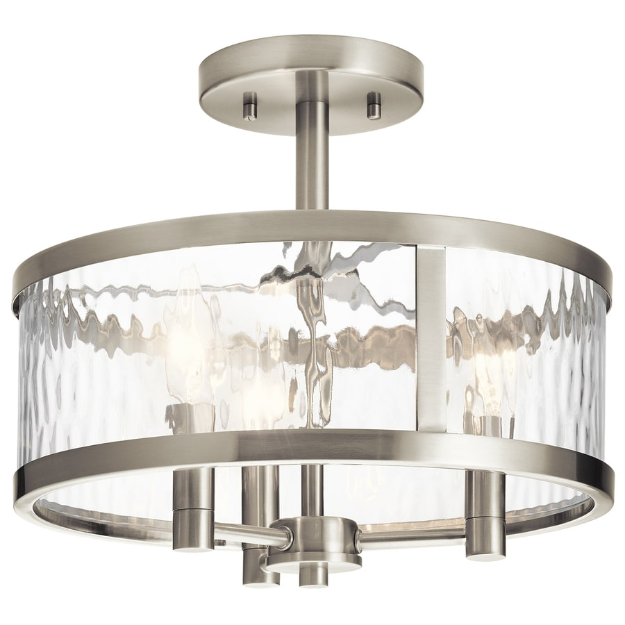 Shop flush mount lighting at lowes kichler marita 13 in w brushed nickel clear glass semi flush mount light aloadofball Gallery