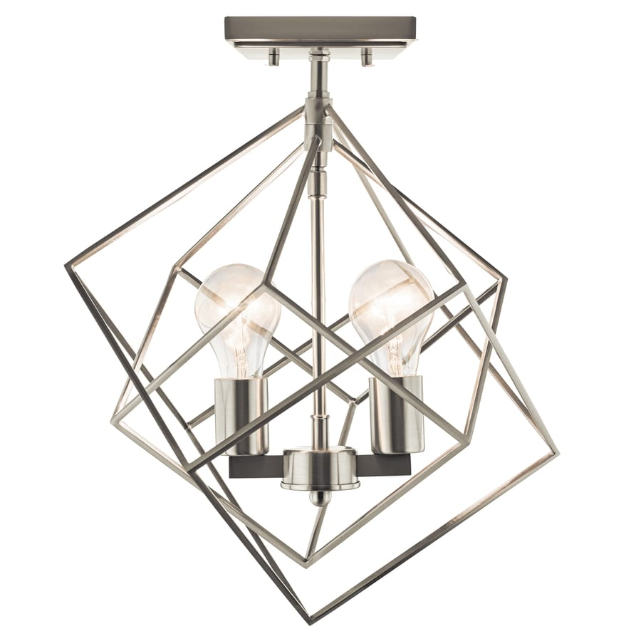 Kichler 13.75-in W Brushed nickel Metal Standard Semi-Flush Mount Light