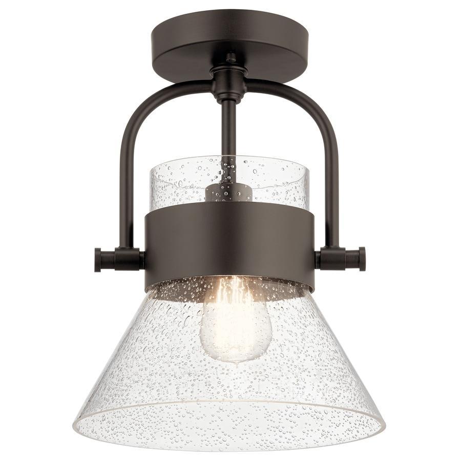 Farmhouse Flush Mount Lighting Lowes: Kichler Aldean 10-in W Olde Bronze Clear Glass Semi-Flush