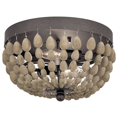 Coltyn 12 In Anvil Iron And Distressed Antique Grey Farmhouse Incandescent Flush Mount Light