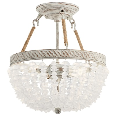 Kona Cay 12 In Distressed Antique White Coastal Incandescent Semi Flush Mount Light