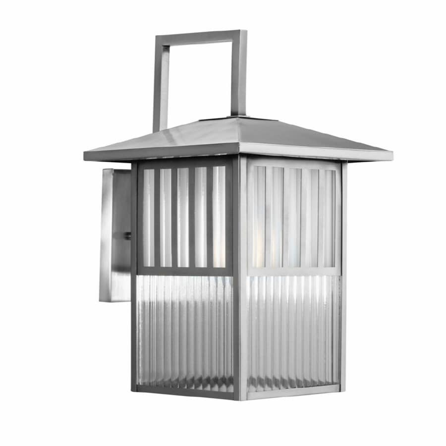 allen + roth Lancetti 15-3/4-in Brushed Nickel Outdoor Wall Light
