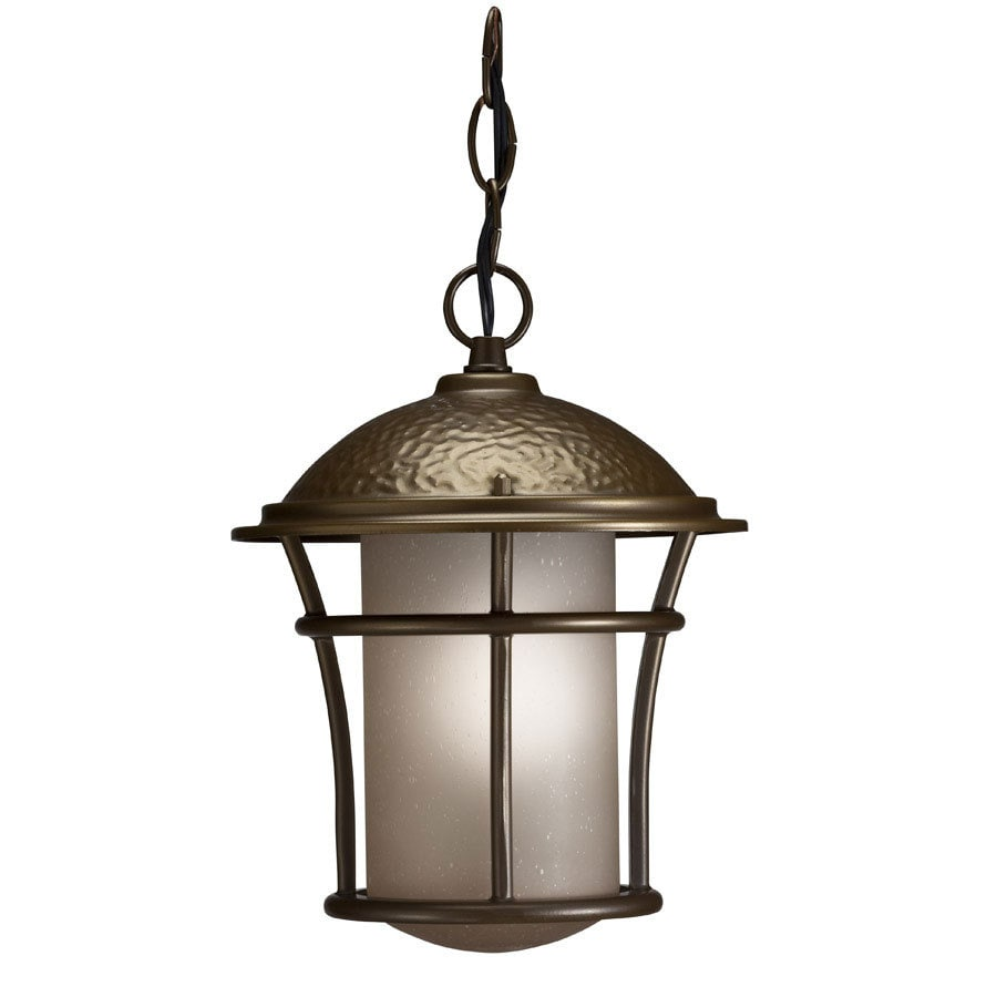 Outdoor Hanging Lanterns Lowes: Portfolio 10.87-in Antique Brass Outdoor Pendant Light At