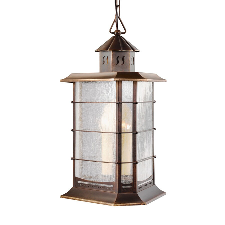 Portfolio 21.5-in Distressed Solid Brass Outdoor Pendant Light