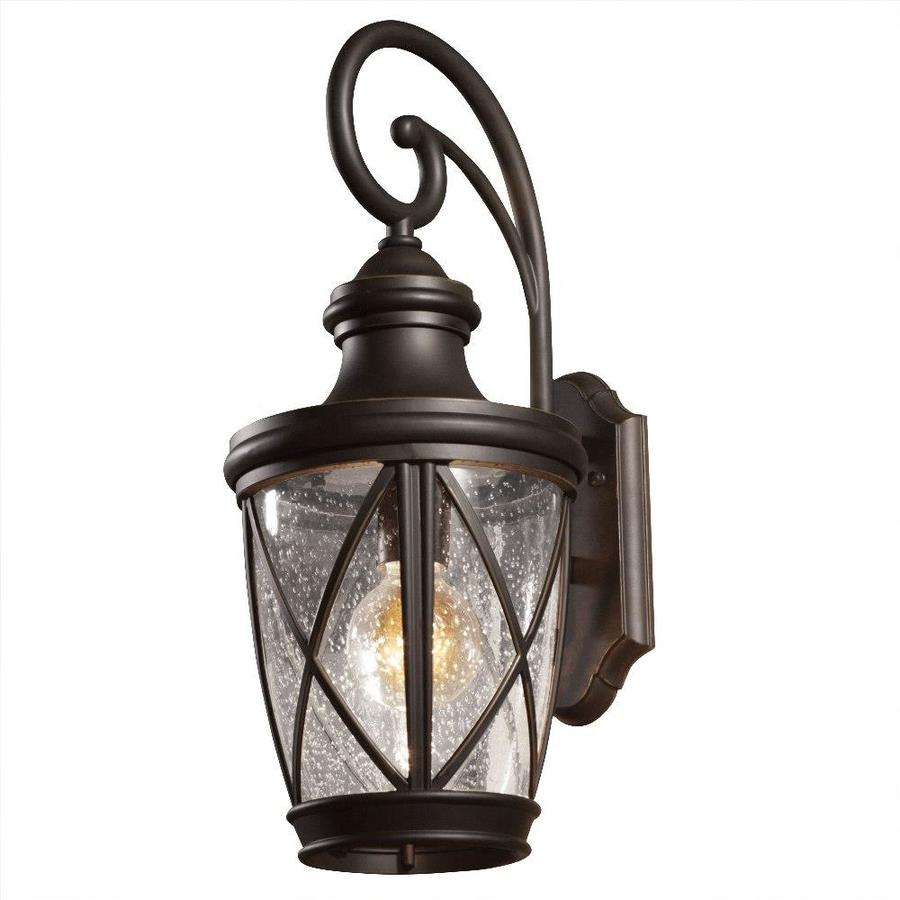 Shop allen roth castine h rubbed bronze medium for Outside lawn lights