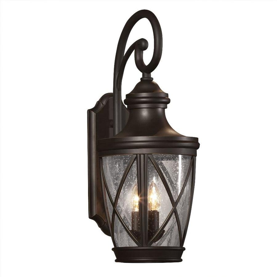 Shop allen roth castine h rubbed bronze outdoor for Outdoor porch light fixtures