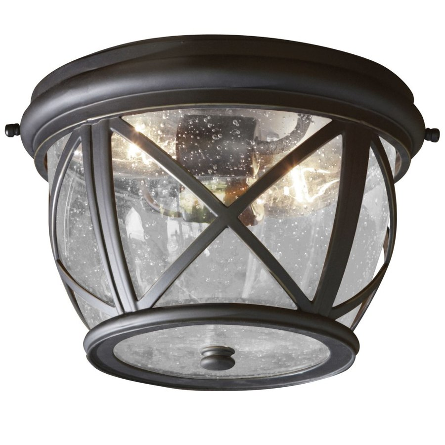 Charming Allen + Roth Castine 10.9 In W Rubbed Bronze Outdoor Flush Mount Light