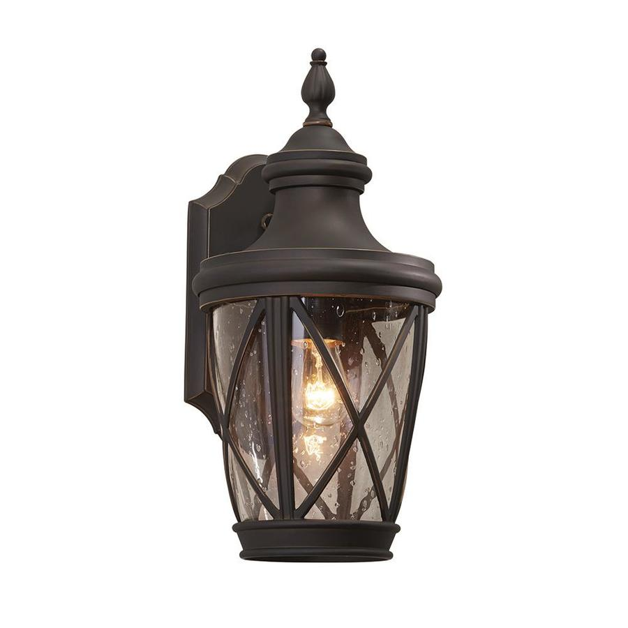 Exterior Wall Lights Lowes : Shop allen + roth Castine 14.41-in H Rubbed Bronze Outdoor Wall Light at Lowes.com